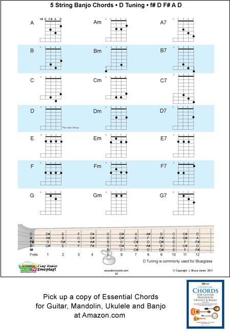 5 String Banjo Chords for D Tuning