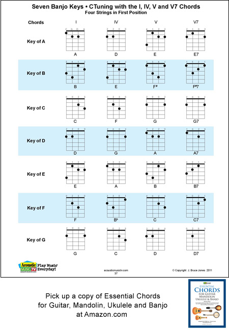 Ukulele ukulele chords poster : 4 String Banjo Chords and Keys, Standard Tuning, C, G, D, A