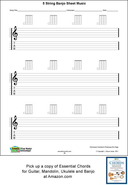 Blank 5 string banjo sheet music with tab lines. manuscript banjo page