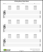 4 String Banjo blank sheet music, staff and tab