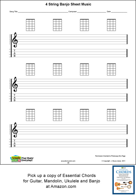 4 string banjo blank sheet music, manuscript, staff and tab lines