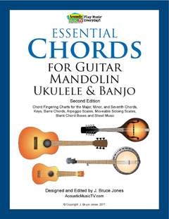 essential chords for guitar, mandolin,ukulele and banjo
