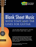 Guitar Sheet Music Staff and Tab lines, chord boxes