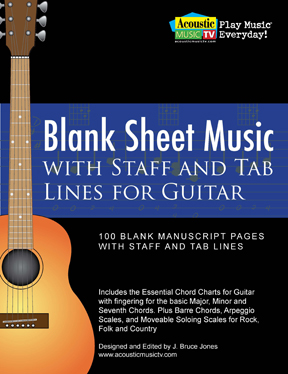 blank guitar sheet music staff and tab lines