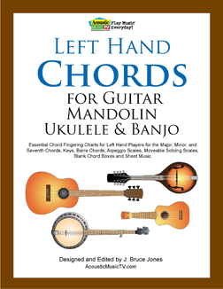 left hand guitar, mandolin, ukulele and banjo chords