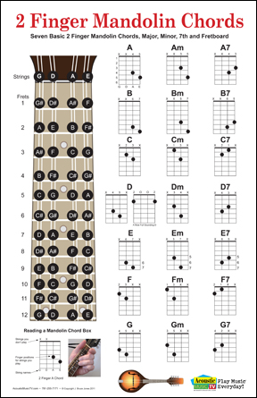 Mandolin chord fingering charts and fret board poster