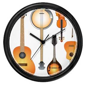 string instruments clock, guitar, fiddle, violin, banjo, mandolin, ukulele, folk music