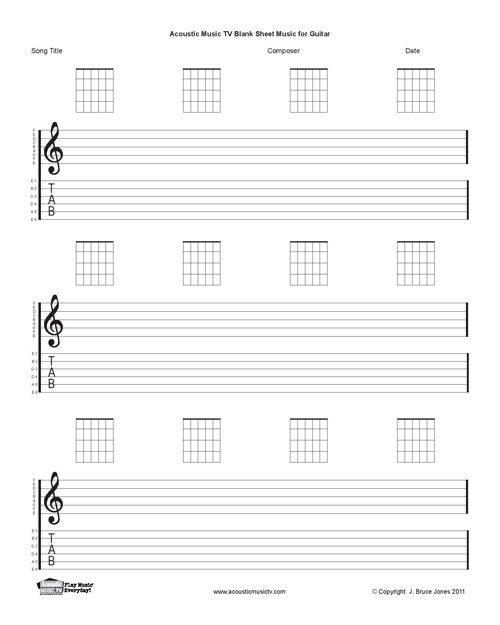 guitar blank printable sheet music, staff and tab lines, chord boxes
