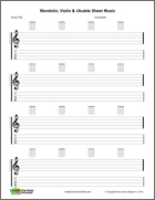 Mandolin blank printable sheet music