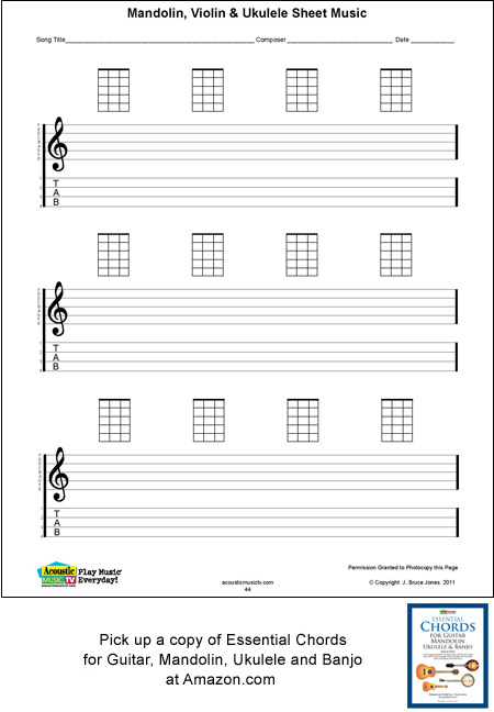 Ukulele Blank Sheet Music, Staff, Tab, Acoustic Music TV