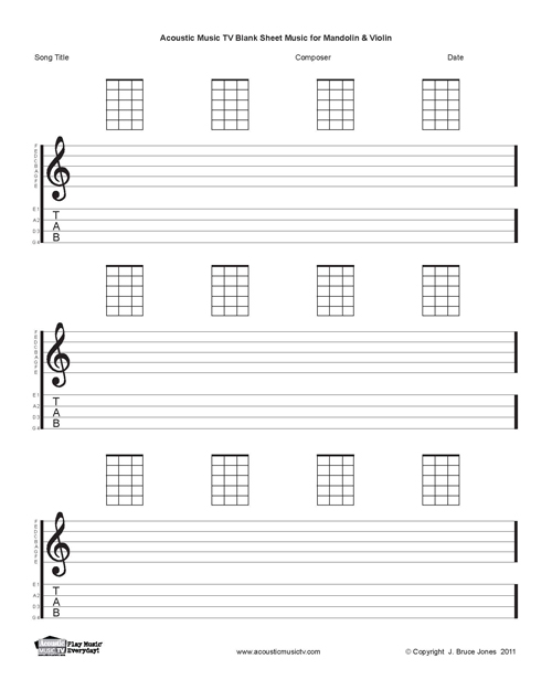 Mandolin Blank Printable Sheet Music Acoustic Music TV – Blank Sheet of Paper with Lines