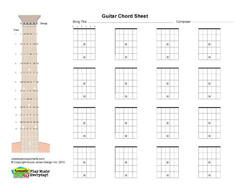 Guitar guitar chords on sheet music : Guitar Blank Printabl Chord Boxes, Horiz. Acoustic Music TV
